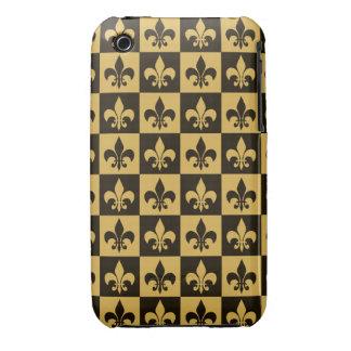 Black and Gold Fleur de lis iPhone 3 Case