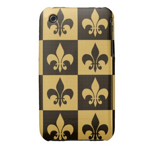 Black and Gold Fleur de lis iPhone 3 Case-Mate Case