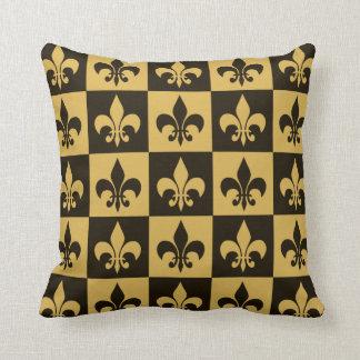 Black and Gold Fleur de lis Cushion