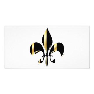 Black and Gold Fleur de Lis Custom Photo Card