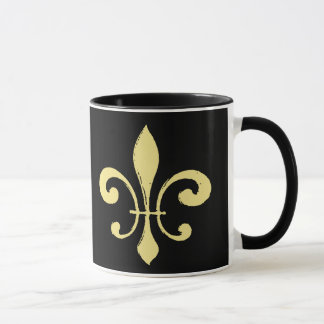 Black and Gold Fleur De Lis Mug Who Dat