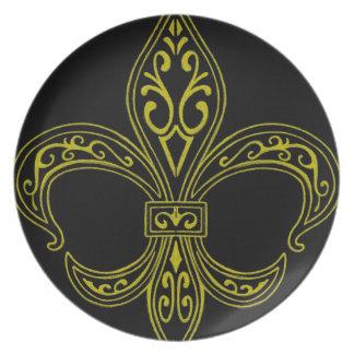 Black and Gold Fleur de Lis Plate