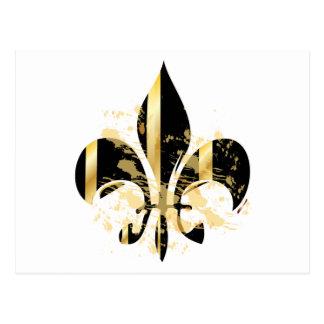 Black and Gold Fleur de Lis Postcard