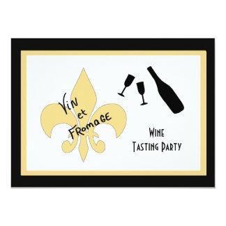 Black and Gold Fleur de Lis Wine Tasting Invites