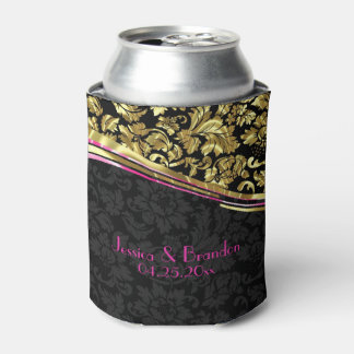Black And Gold Floral Damasks Can Cooler
