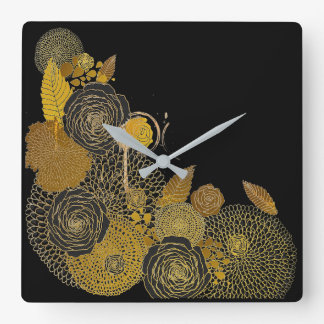 Black and Gold Floral Design Square Wall Clock