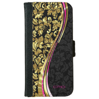 Black And Gold Floral Girly Damasks iPhone 6 Wallet Case