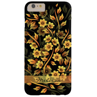 Black and Gold Floral Pretty iPhone 6 Plus Case