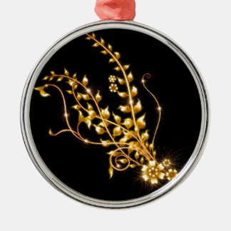 BLACK AND GOLD FLORAL Silver-Colored ROUND DECORATION