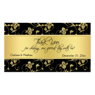 Black and Gold Floral Wedding Favor Tag Business Cards