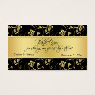 Black and Gold Floral Wedding Favor Tag Business Card