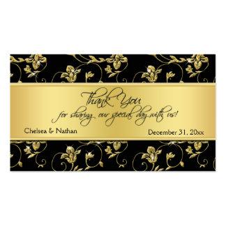 Black and Gold Floral Wedding Favor Tag Pack Of Standard Business Cards