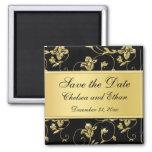 Black and Gold Floral Wedding Favour Magnet