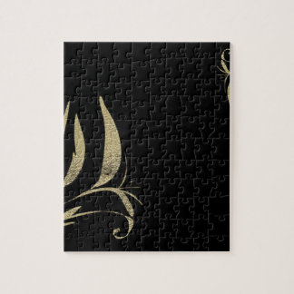 Black and Gold Flourish Pattern Designs Jigsaw Puzzle
