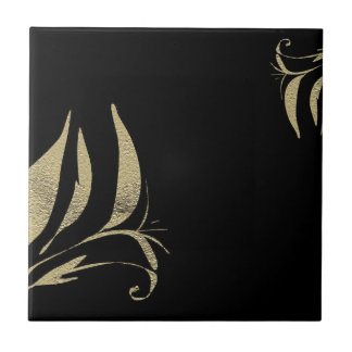 Black and Gold Flourish Pattern Designs Tile