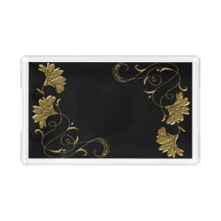Black and Gold Flower Stencil Tray