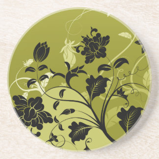 Black and Gold Flowers Sandstone Coaster