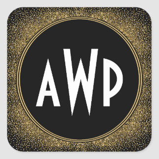Black and Gold Foil Art Deco Wedding Favors Square Sticker
