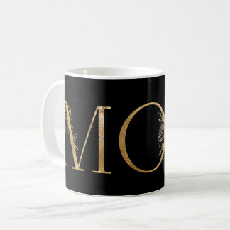 Black and Gold Foil Botanical Typography Mom Coffee Mug