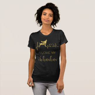 Black And Gold Foil Chihuahua Tee Shirt