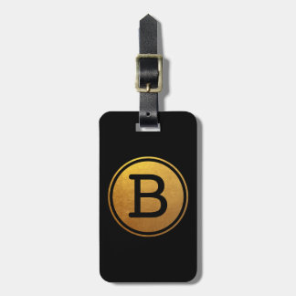 Black and Gold Foil Effect Circle Monogram Luggage Tag