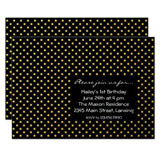 Black and Gold Foil Polkadots Card