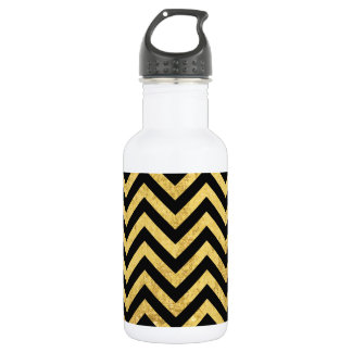 Black and Gold Foil Zigzag Stripes Chevron Pattern 532 Ml Water Bottle