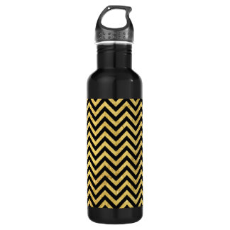 Black and Gold Foil Zigzag Stripes Chevron Pattern 710 Ml Water Bottle