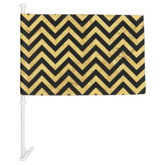 Black and Gold Foil Zigzag Stripes Chevron Pattern Car Flag