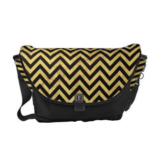 Black and Gold Foil Zigzag Stripes Chevron Pattern Commuter Bags