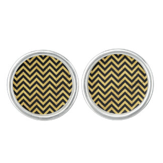 Black and Gold Foil Zigzag Stripes Chevron Pattern Cuff Links