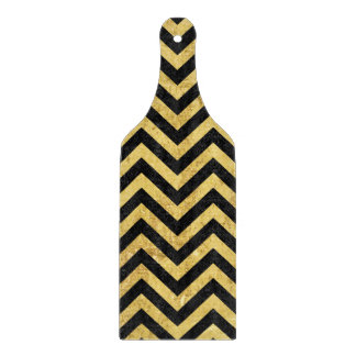 Black and Gold Foil Zigzag Stripes Chevron Pattern Cutting Board