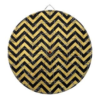 Black and Gold Foil Zigzag Stripes Chevron Pattern Dartboard