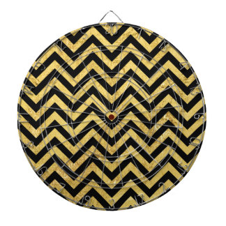 Black and Gold Foil Zigzag Stripes Chevron Pattern Dartboard With Darts