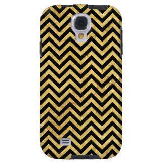 Black and Gold Foil Zigzag Stripes Chevron Pattern Galaxy S4 Case