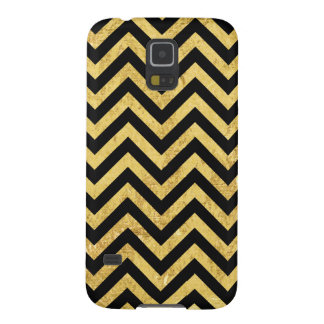 Black and Gold Foil Zigzag Stripes Chevron Pattern Galaxy S5 Covers