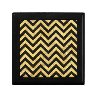 Black and Gold Foil Zigzag Stripes Chevron Pattern Gift Box