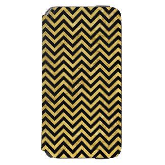 Black and Gold Foil Zigzag Stripes Chevron Pattern Incipio Watson™ iPhone 6 Wallet Case