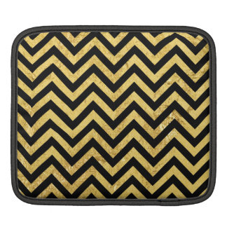 Black and Gold Foil Zigzag Stripes Chevron Pattern iPad Sleeve