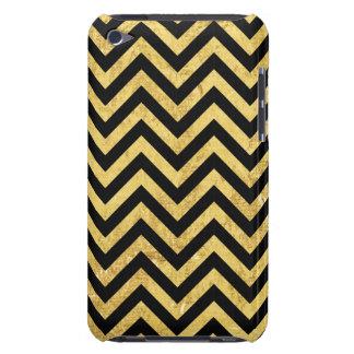 Black and Gold Foil Zigzag Stripes Chevron Pattern iPod Case-Mate Case