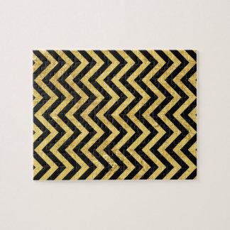 Black and Gold Foil Zigzag Stripes Chevron Pattern Jigsaw Puzzle