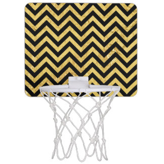 Black and Gold Foil Zigzag Stripes Chevron Pattern Mini Basketball Hoop