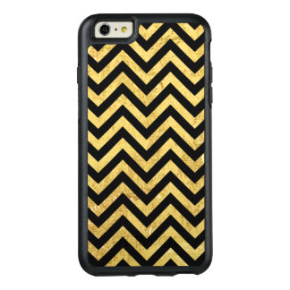 Black and Gold Foil Zigzag Stripes Chevron Pattern OtterBox iPhone 6/6s Plus Case