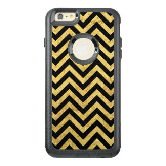 Black and Gold Foil Zigzag Stripes Chevron Pattern OtterBox iPhone 6/6s Plus Case