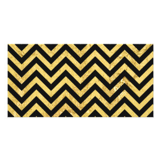 Black and Gold Foil Zigzag Stripes Chevron Pattern Personalized Photo Card