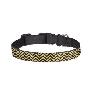Black and Gold Foil Zigzag Stripes Chevron Pattern Pet Collar