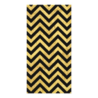 Black and Gold Foil Zigzag Stripes Chevron Pattern Photo Card Template