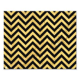 Black and Gold Foil Zigzag Stripes Chevron Pattern Photo Print