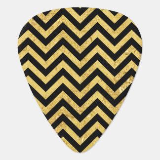 Black and Gold Foil Zigzag Stripes Chevron Pattern Plectrum