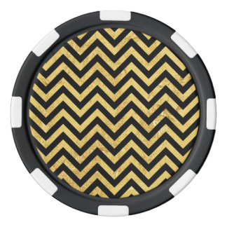 Black and Gold Foil Zigzag Stripes Chevron Pattern Poker Chips